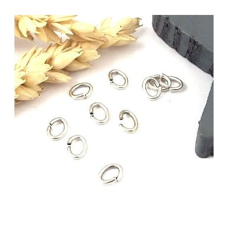 15 anneaux ouverts ovales plaque argent 12x5mm