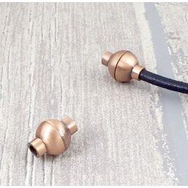 fermoir boule zamak cuivre pour cuir rond 3mm