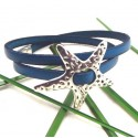 Kit bracelet cuir bleu outremer etoile metal argente