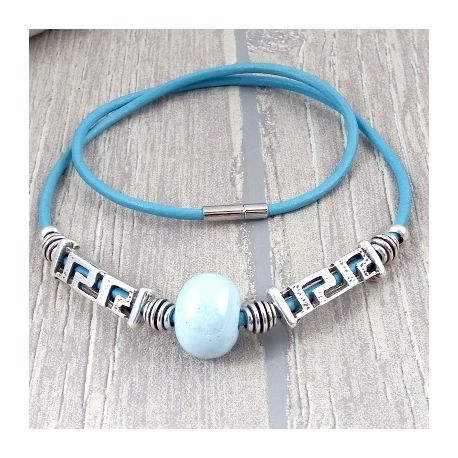 Kit collier cuir bleu ethnique argent et ceramique artisanale