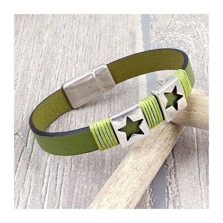 kit bracelet cuir vert anis et argent boho