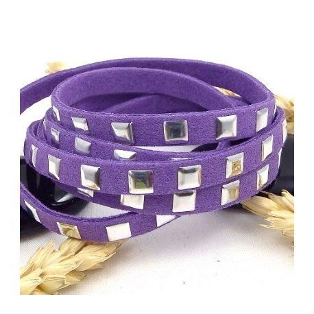 cordon suedine violet avec clous argentes 6.5mm
