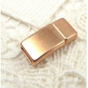 fermoir magnetique plat zamak flashe or rose pour cuir 5mm