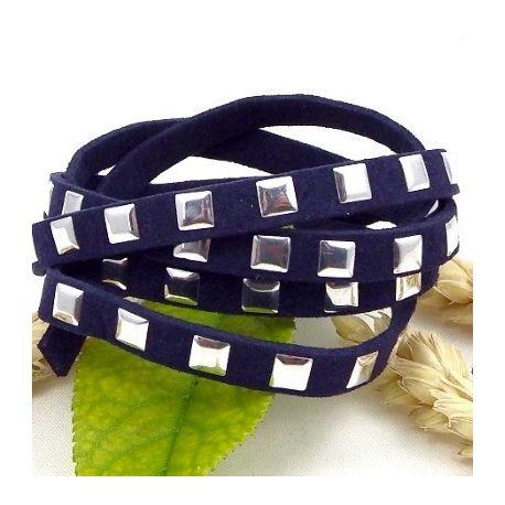cordon suedine simili daim bleu marine avec clous argentes 6.5mm
