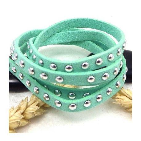 cordon suedine style daim vert clair avec clous argentes 7mm