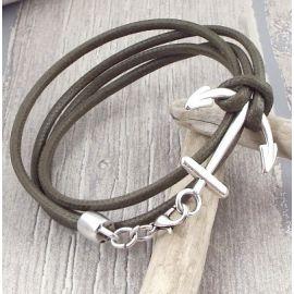 Kit bracelet cordon kaki homme marron ancre marine et fermoir ancre marine argent