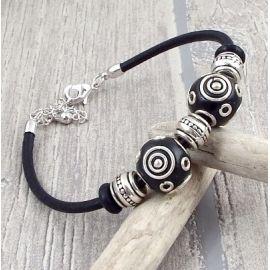 Kit bracelet cuir noir perles kashmiri et argent