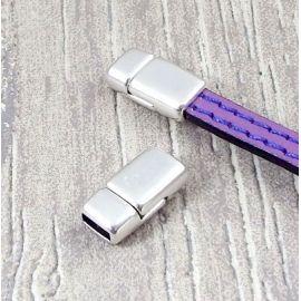 Fermoir magnetique plat plaque argent haute qualite pour cuir 6mm