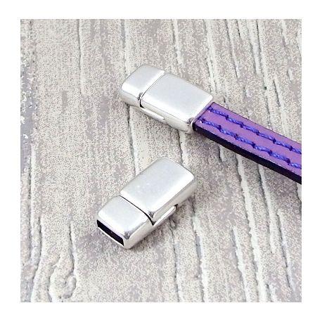 10 Fermoirs magnetique plat plaque argent haute qualite pour cuir 6mm