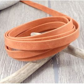 cuir plat 10mm orange double haute qualite par 20 cm