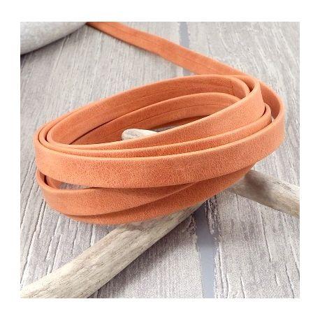 cuir plat 10mm orange double haute qualite par 20 cm