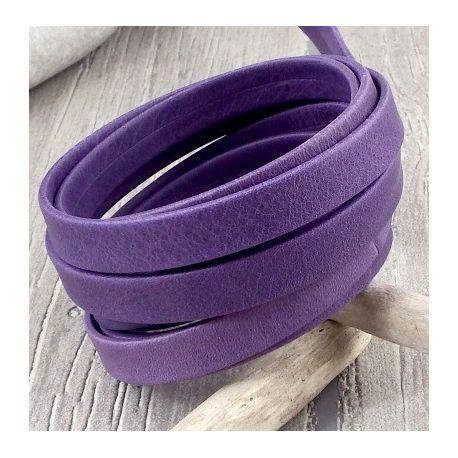 Cuir plat 10mm violet patine double haute qualite par 20 cm