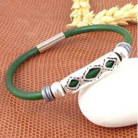 Kit tutoriel bracelet cuir noir unisexe ethnique zamak argent
