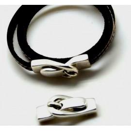 Fermoir magnetique ceinture plaque argent pour cuir 5mm