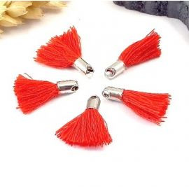 5 mini pompons rouge 18mm