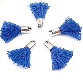 5 mini pompons bleus 18mm avec anneau
