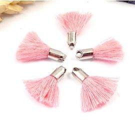 5 mini pompons roses 18mm avec anneau
