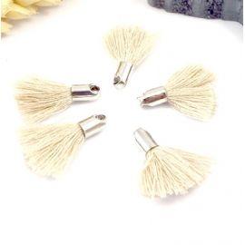 5 mini pompons beiges 18mm avec anneau