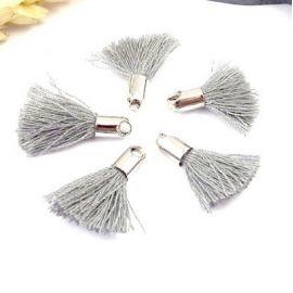 5 mini pompons gris 18mm avec anneau