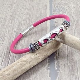 Kit tutoriel bracelet cuir fuchsia ethnique zamak argent