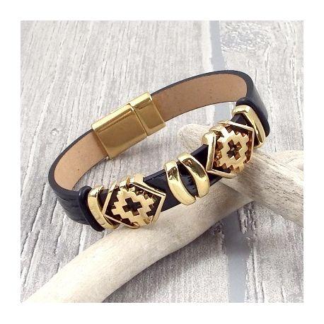 kit bracelet cuir verni noir passants geometriques grecques or