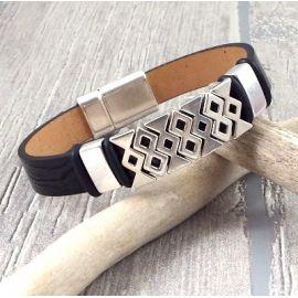 kit bracelet cuir verni noir style grec argent