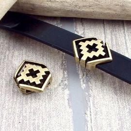 passe cuir geometrique plaque bronze pour cuir plat 10mm
