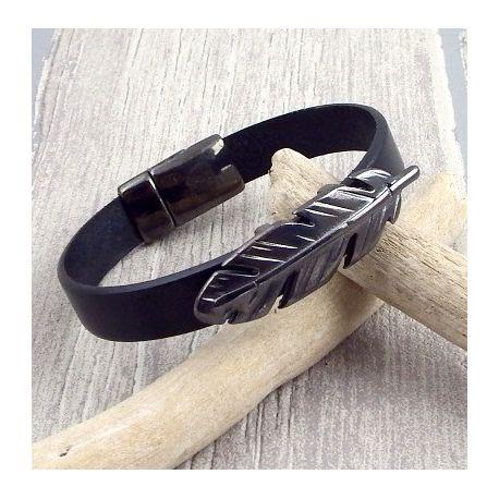 Kit bracelet cuir noir avec fermoir et plume gun metal avec tutoriel