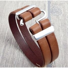 Kit bracelet cuir homme marron top tendance fermoir argent