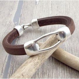 kit bracelet cuir regaliz marron deux parties fermoir plaque argent