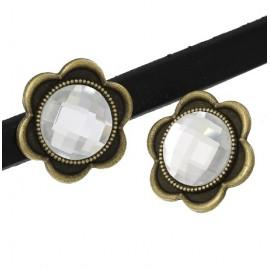 Perle passante metal bronze et verre cristal pour cuir regaliz