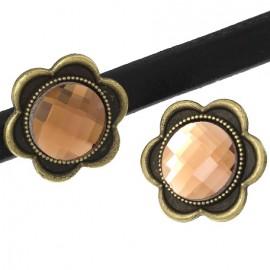 Perle passante metal bronze et verre saumon pour cuir regaliz