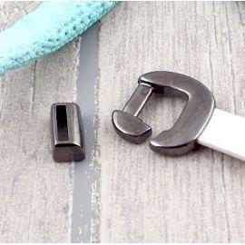 Set fermoir crochet gun metal pour cuir plat 10mm