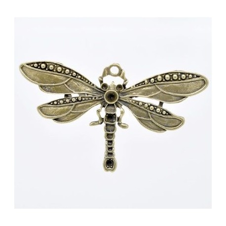 grand pendentif original libelulle 70mm bronze