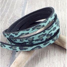 Cordon plat synthetique style leopard vert et noir 5mm