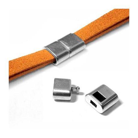 Fermoir clip crochet pour cuir plat 7mm