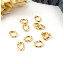 15 anneaux ovales laiton dore