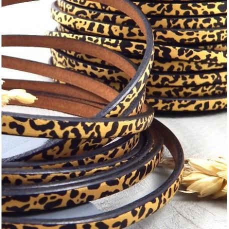 cuir plat 5mm imprime noir et or