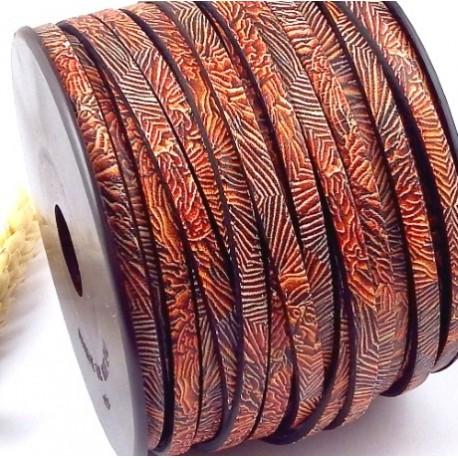 cuir plat 5mm imprime corail de mer