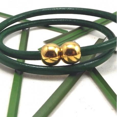 Fermoir magnétique boule argent pour cuir 2mm