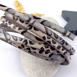 Cordon cuir plat 5mm haute qualite imprime gris et noir savane