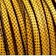 cuir plat 5mm imprime pois jaune et noir
