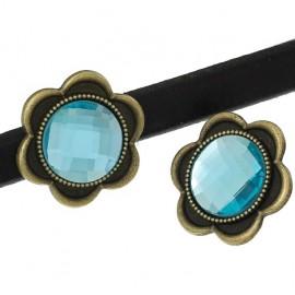 Perle passante metal bronze et verre cristal turquoise pour cuir regaliz