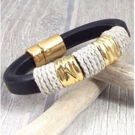 kit bracelet cuir regaliz noir chanvre et or boho