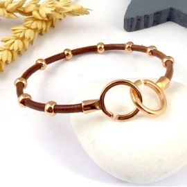kit tuto bracelet cuir tresse argent et menottes or rose