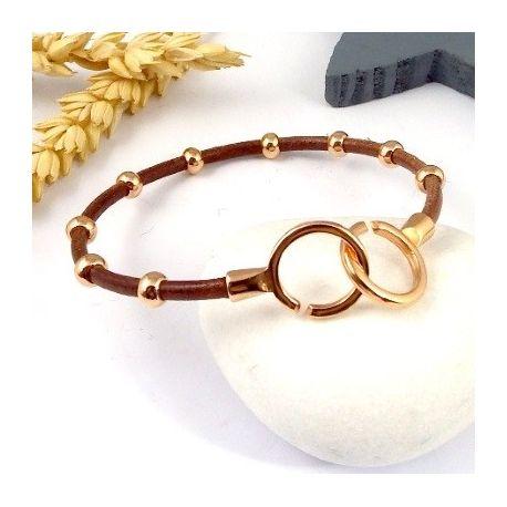 kit tutoriel bracelet cuir cognac perles et fermoir or rose. Black Bedroom Furniture Sets. Home Design Ideas