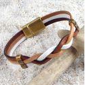 Kit tutoriel bracelet cuir tresse camel et blanc
