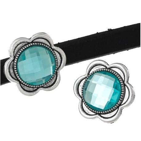 Perle passante metal argente et turquoise