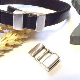 fermoir ajustable plaque argent cuir 10mm