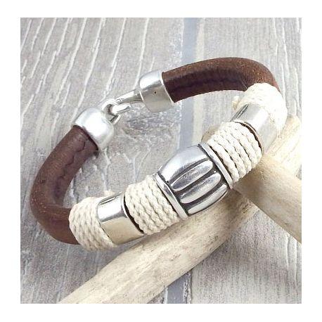 kit bracelet cuir regaliz marron marin argent boho
